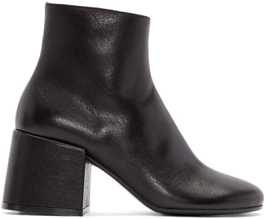 Mm6 Maison Margiela Black Leather Boots