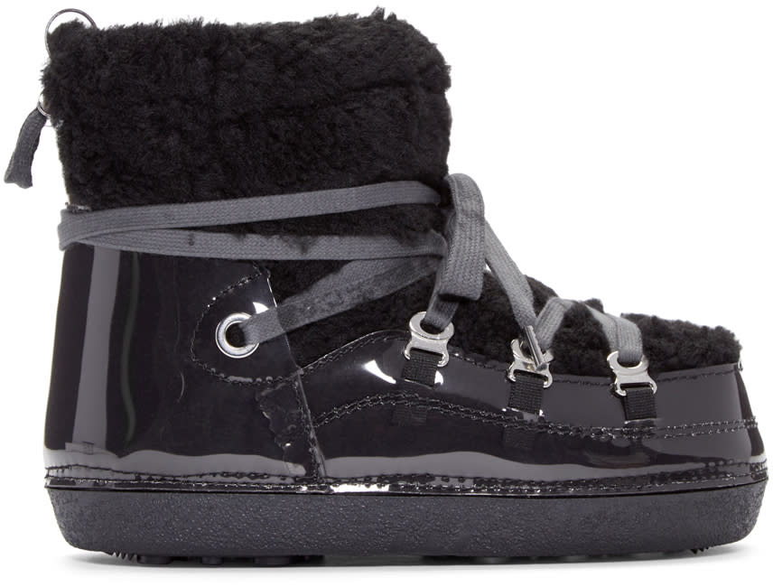 Mm6 Maison Margiela Black Teddy Ankle Boots