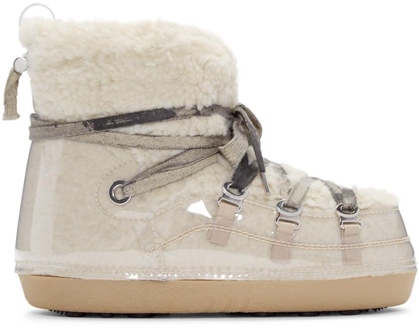 Mm6 Maison Margiela Beige Teddy Ankle Boots