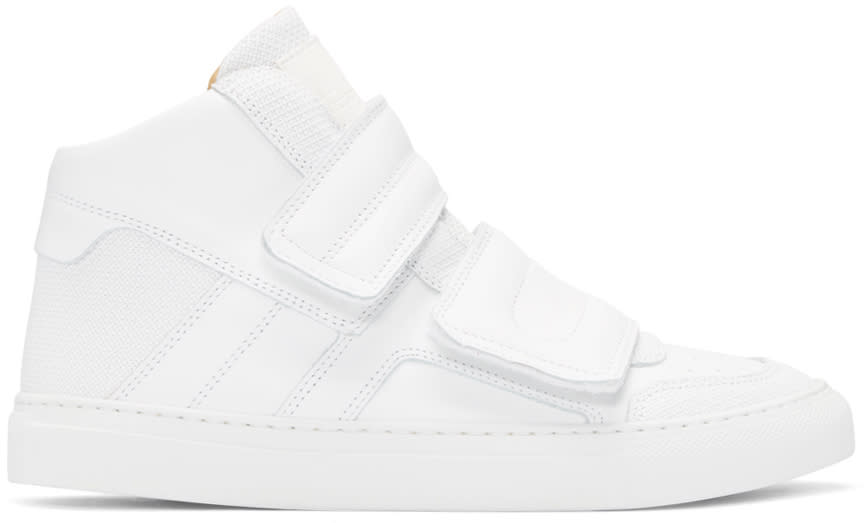 Mm6 Maison Margiela White Leather High-top Sneakers