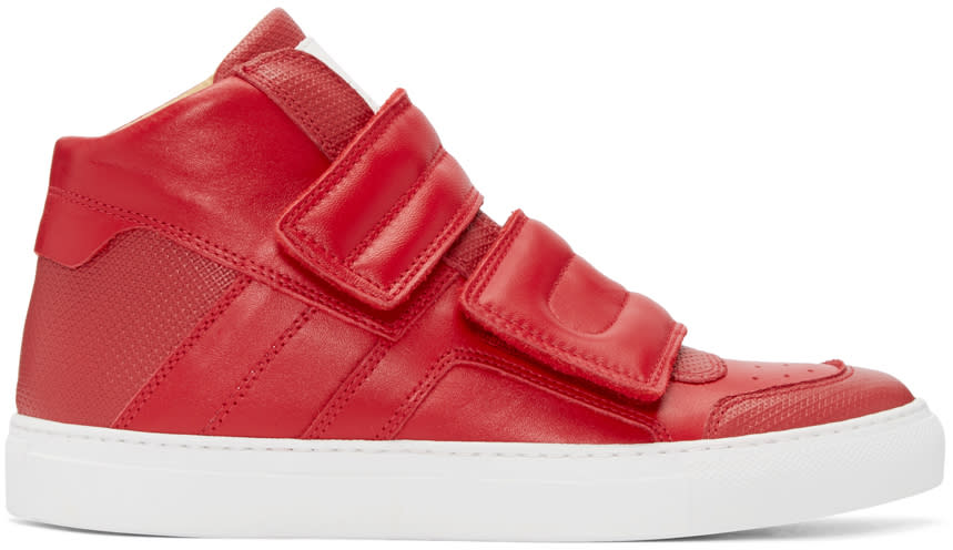Mm6 Maison Margiela Red Leather High-top Sneakers