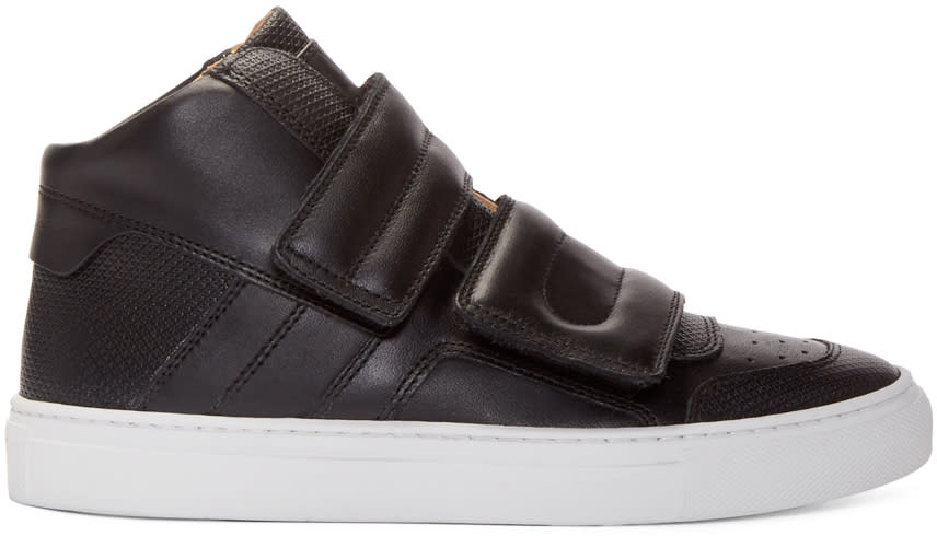 Mm6 Maison Margiela Black Leather High-top Sneakers