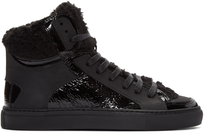Mm6 Maison Margiela Black Faux-shearling High-top Sneakers
