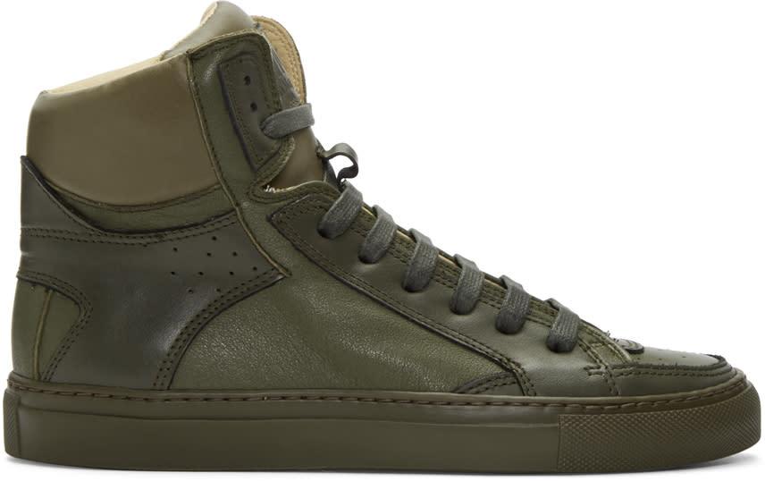 Mm6 Maison Margiela Green Calfskin High-top Sneakers