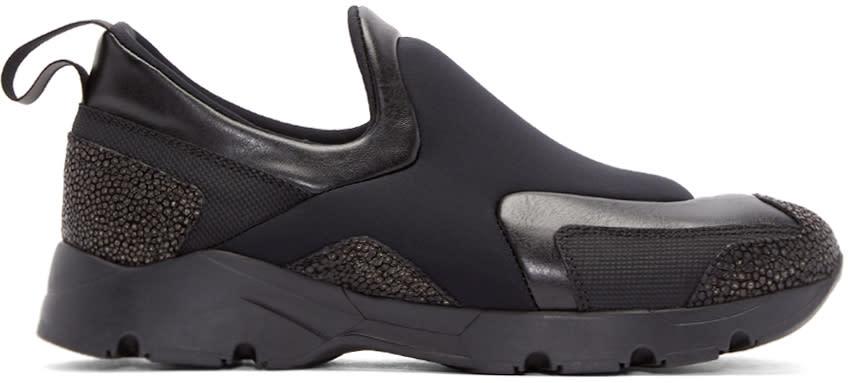 Mm6 Maison Margiela Black Neoprene Slip-on Sneakers