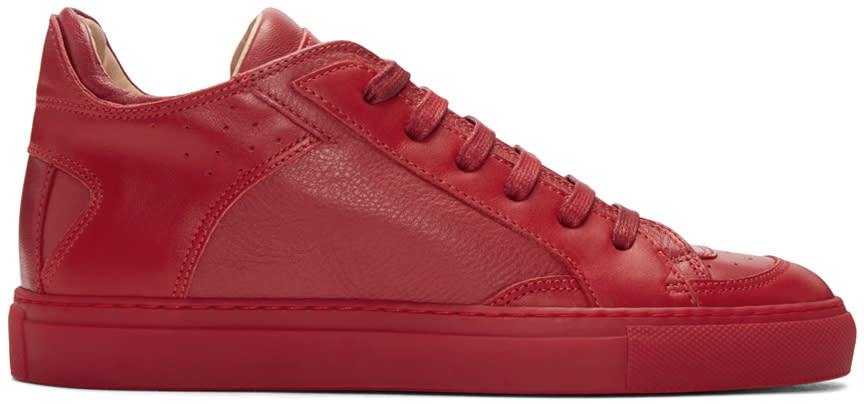 Mm6 Maison Margiela Red Nappa Calfskin Sneakers