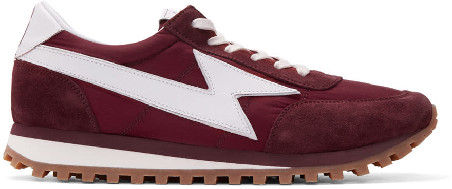 marc jacobs male 215965 marc jacobs burgundy runner jogger sneakers