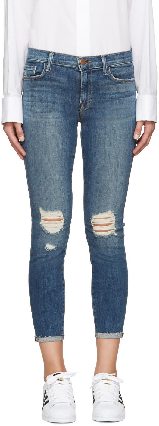 J Brand Blue Mid-rise Capri 835 Jeans