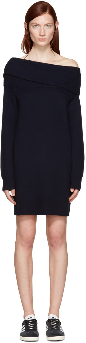 T By Alexander Wang Navy Wool Off-the-shoulder Dress