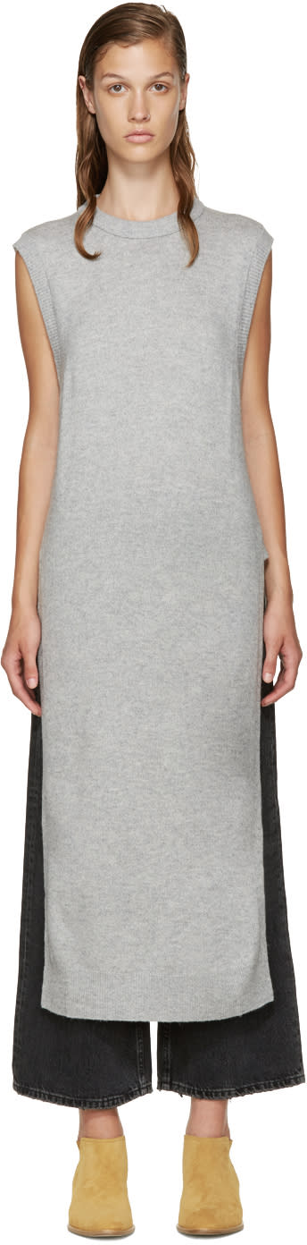 T By Alexander Wang Grey Wool Sleeveless Sweater