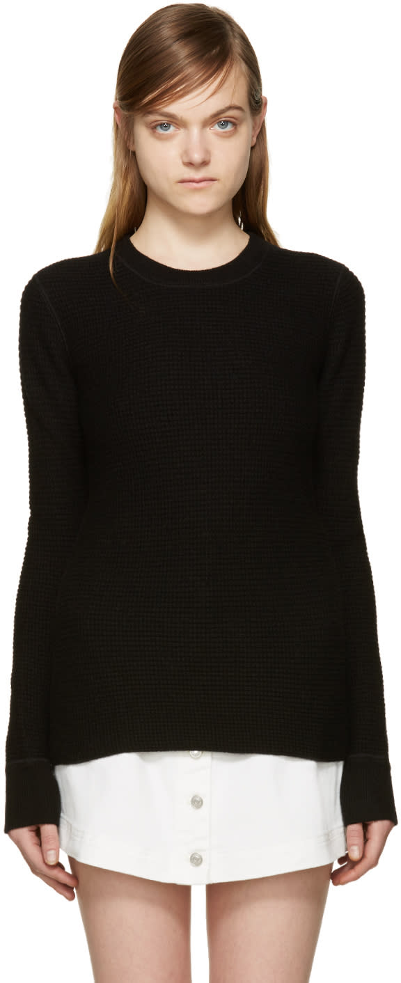 T By Alexander Wang Black Waffle Knit Sweater