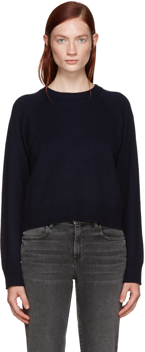 T By Alexander Wang Navy Wool Cropped Sweater