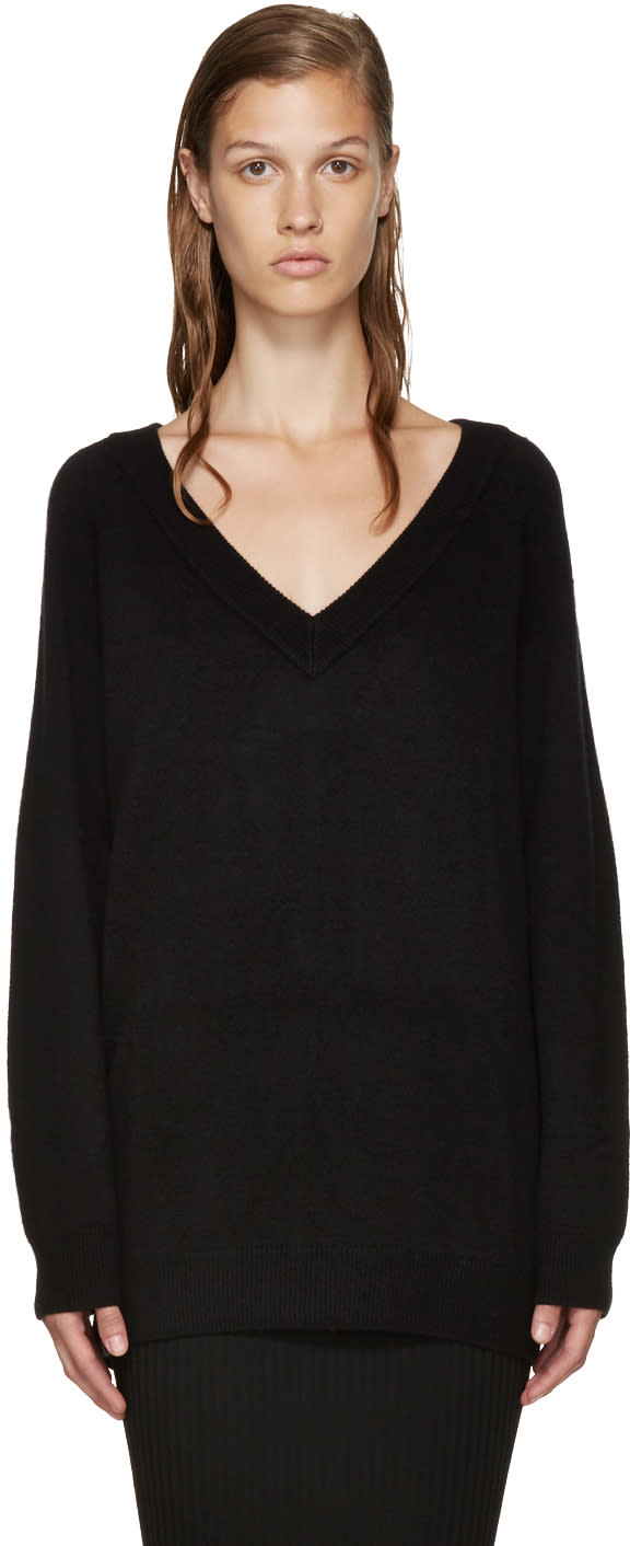 T By Alexander Wang Black V-neck Sweater