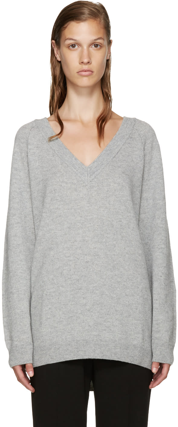 T By Alexander Wang Grey V-neck Sweater