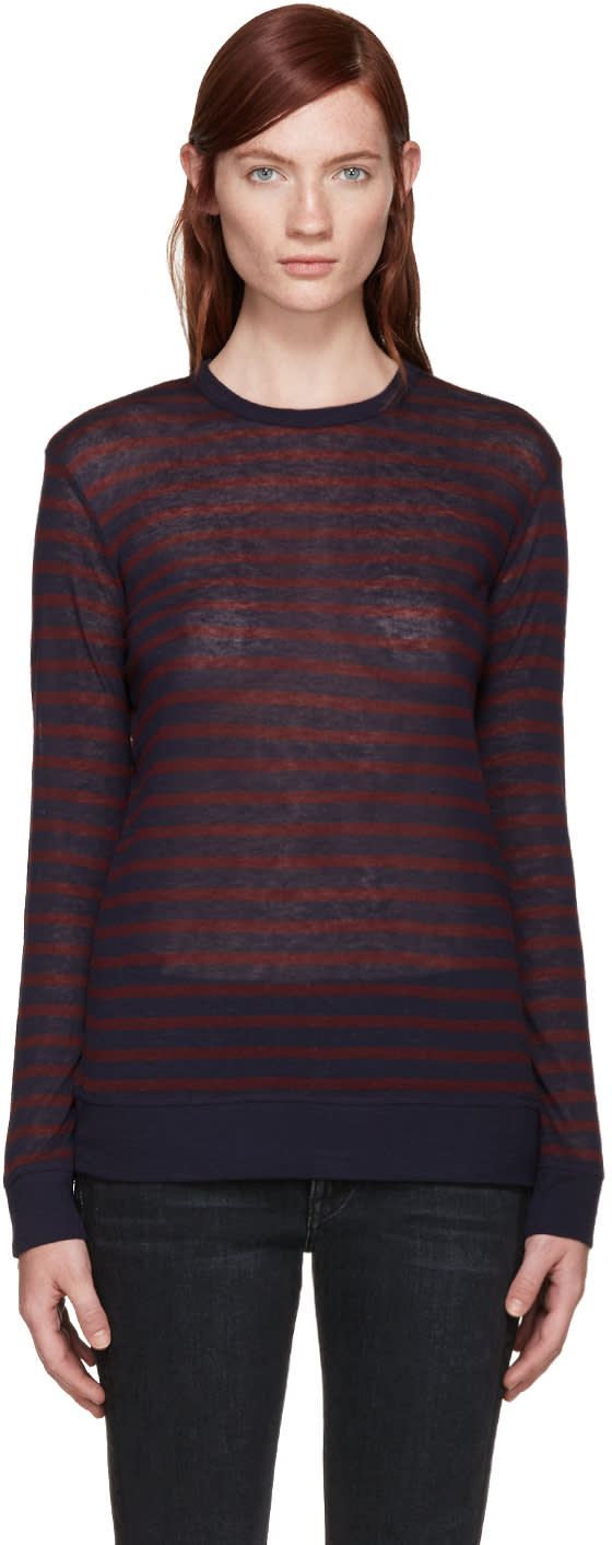T By Alexander Wang Burgundy and Navy Jersey T-shirt