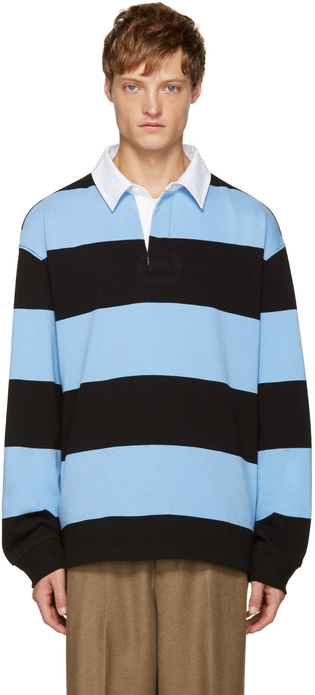 T By Alexander Wang Blue and Black Striped Polo