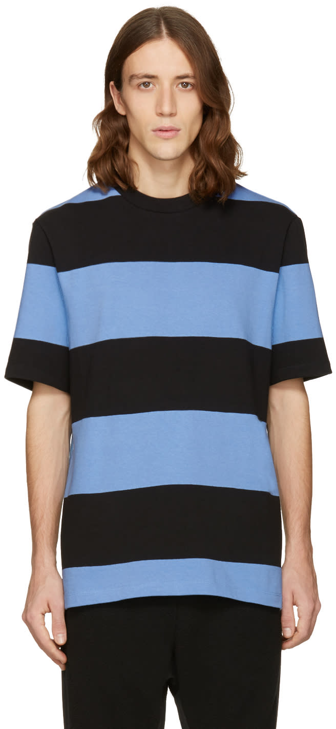 T By Alexander Wang Blue and Black Striped T-shirt