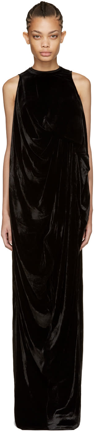 Rick Owens Black Velvet La Brea Dress
