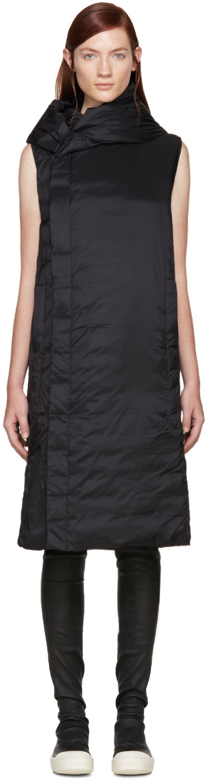 Rick Owens Black Hooded Sleeveless Coat