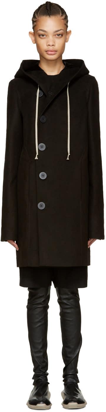 Rick Owens Black Hooded Pea Coat