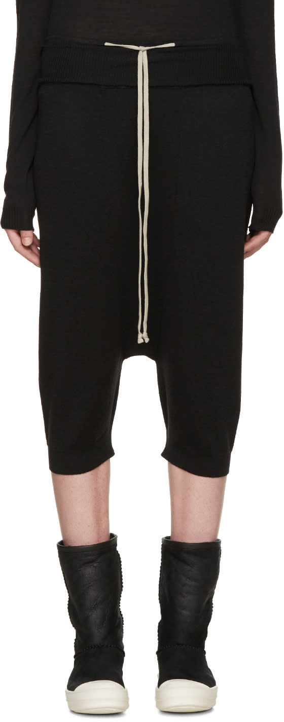 Rick Owens Black Wool Pods Lounge Pants
