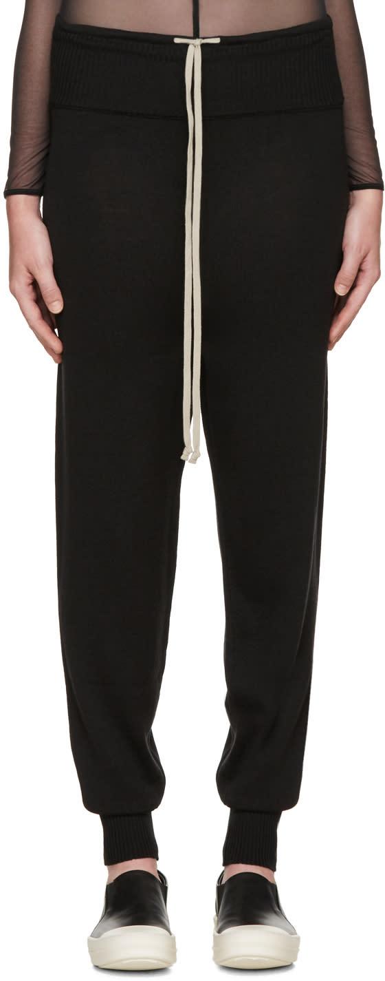 Rick Owens Black Merino Wool Lounge Pants
