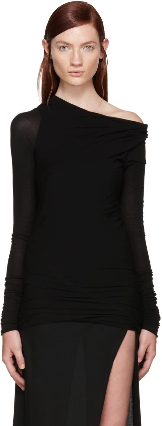 Rick Owens Black Jersey Asymmetrical T-shirt