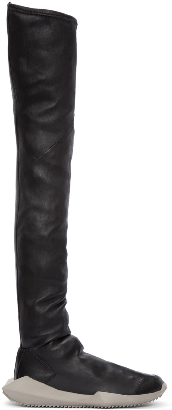Rick Owens Black Adidas Edition Stretch Tech Runner Over-the-knee Boots