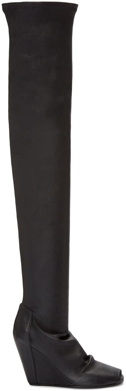 Rick-Owens-Black-Thigh-high-Wedge-Boots