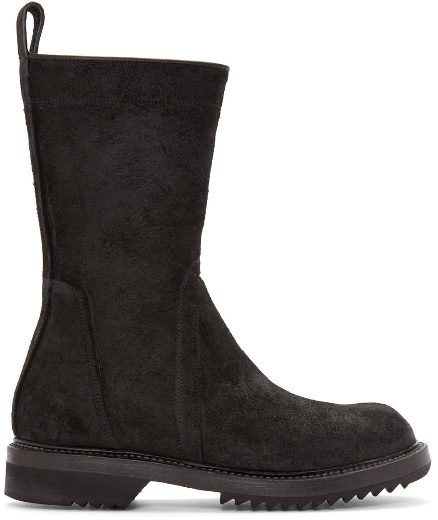 Rick Owens Black Suede Creeper Mid-calf Boots