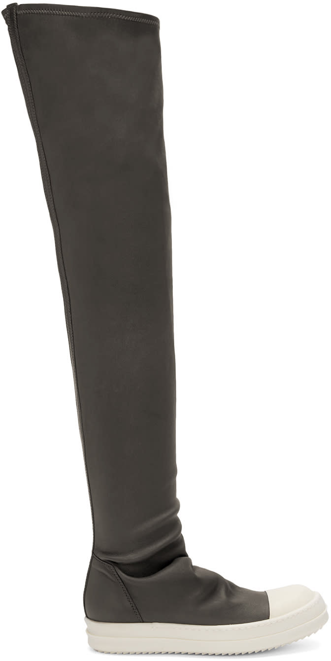 Rick Owens Grey High Sock Boots