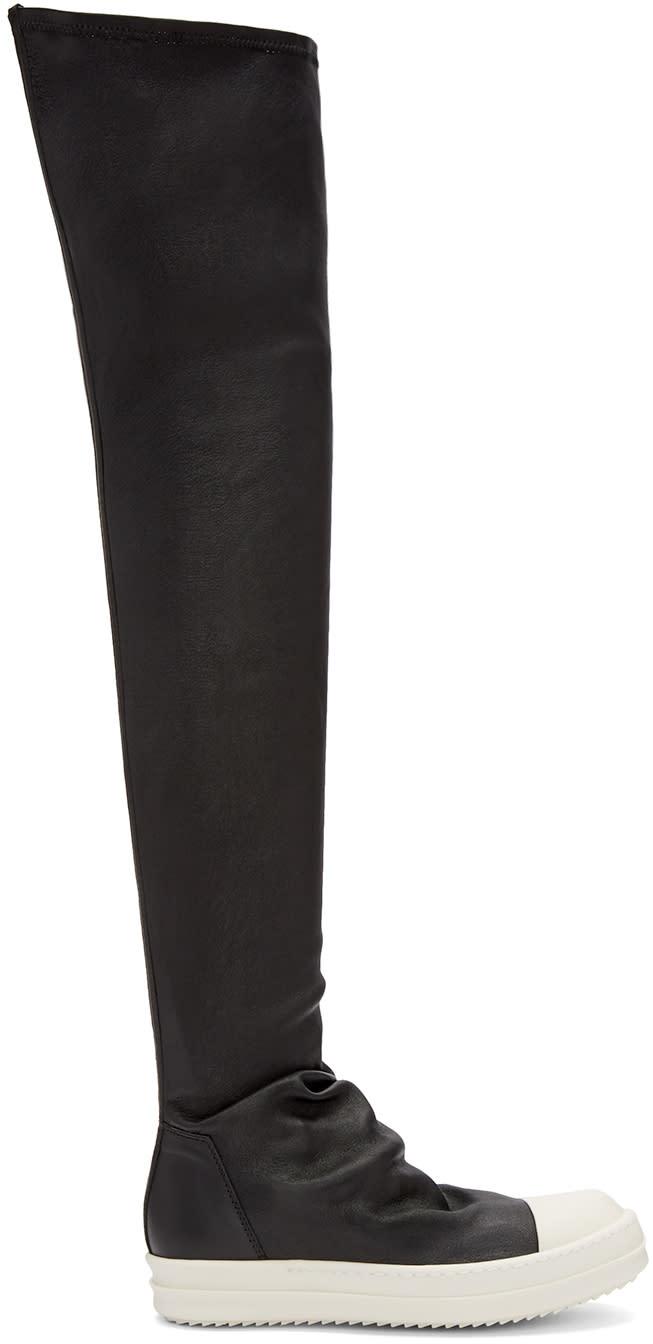 Rick Owens Black High Sock Boots