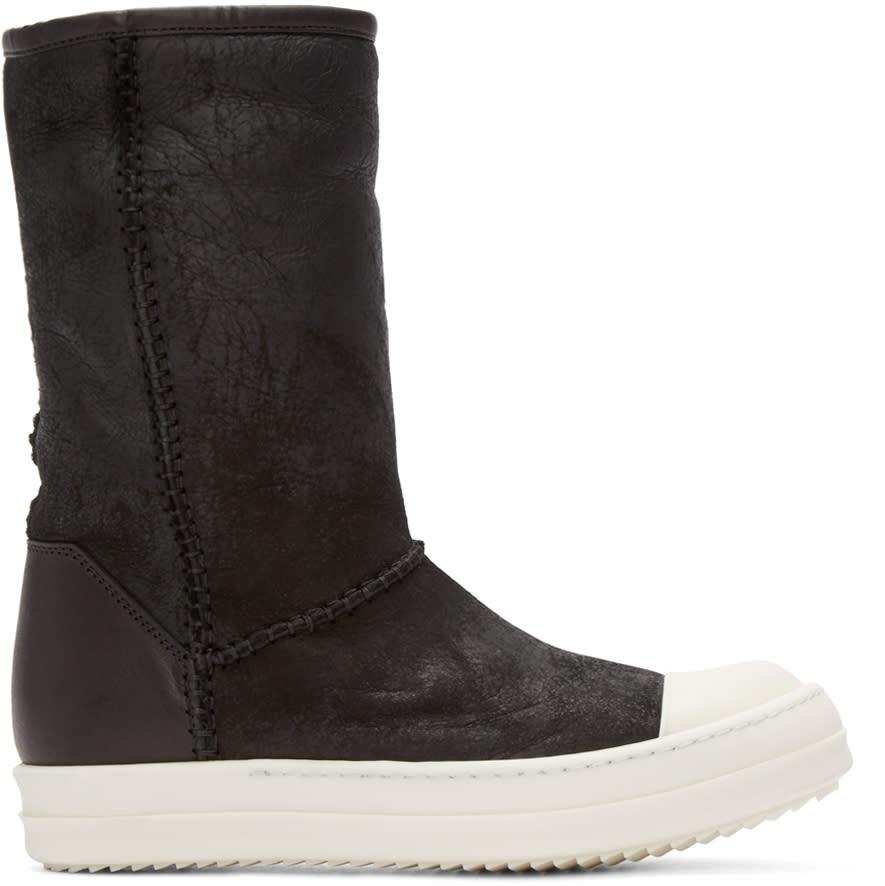 Rick Owens Black Shearling Creeper Boots