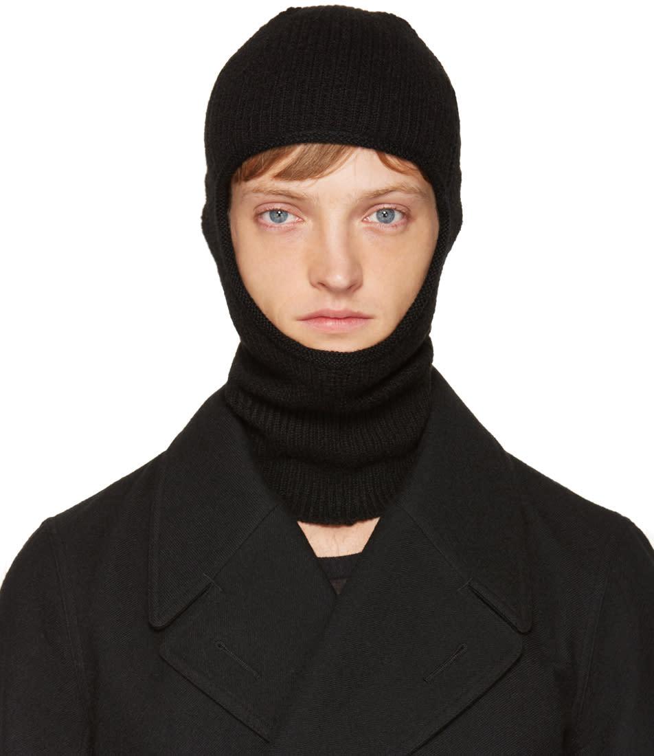 Rick Owens Black Knit Ski Mask