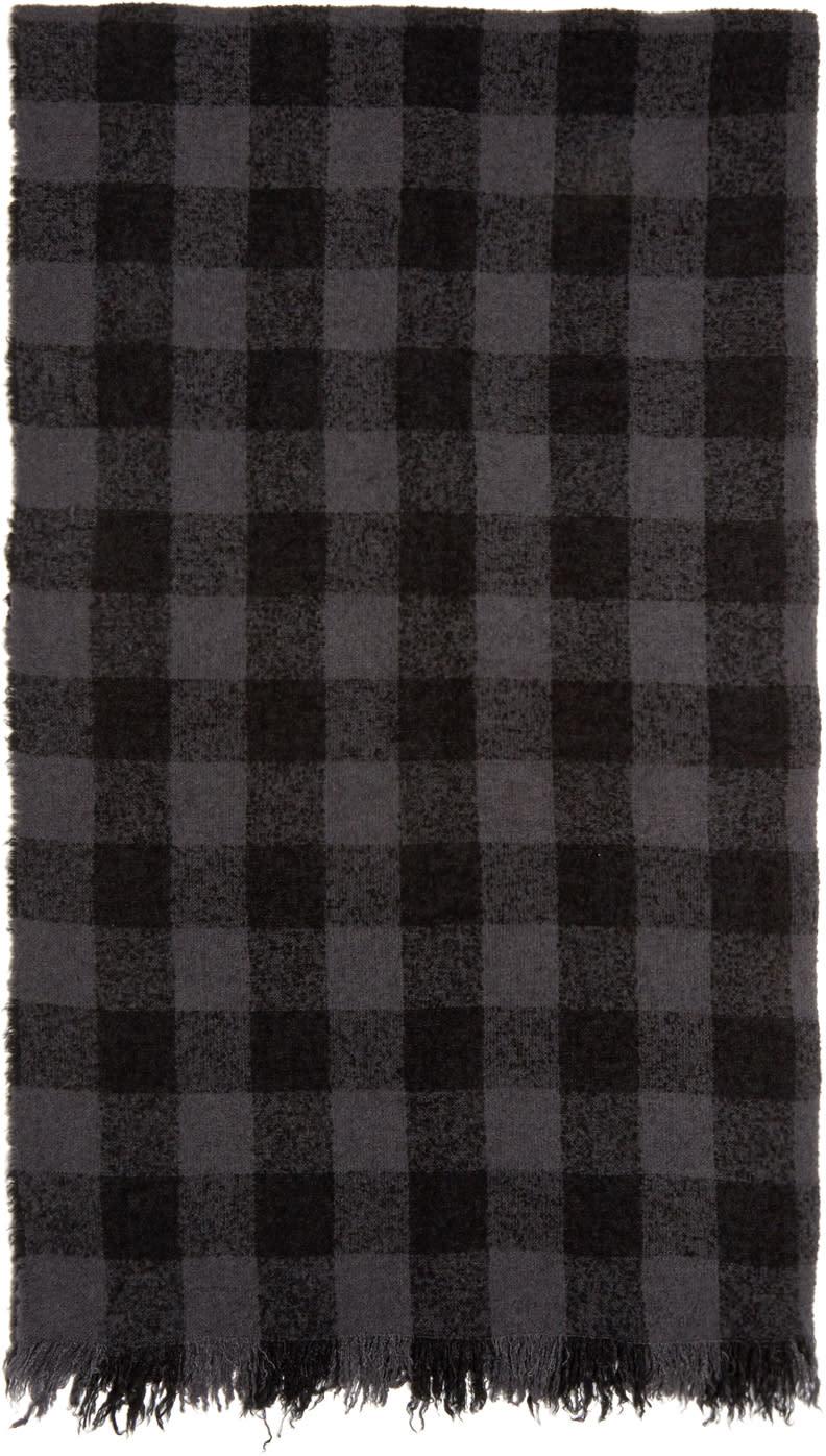Rick Owens Grey and Black Diagonal Mega Scarf
