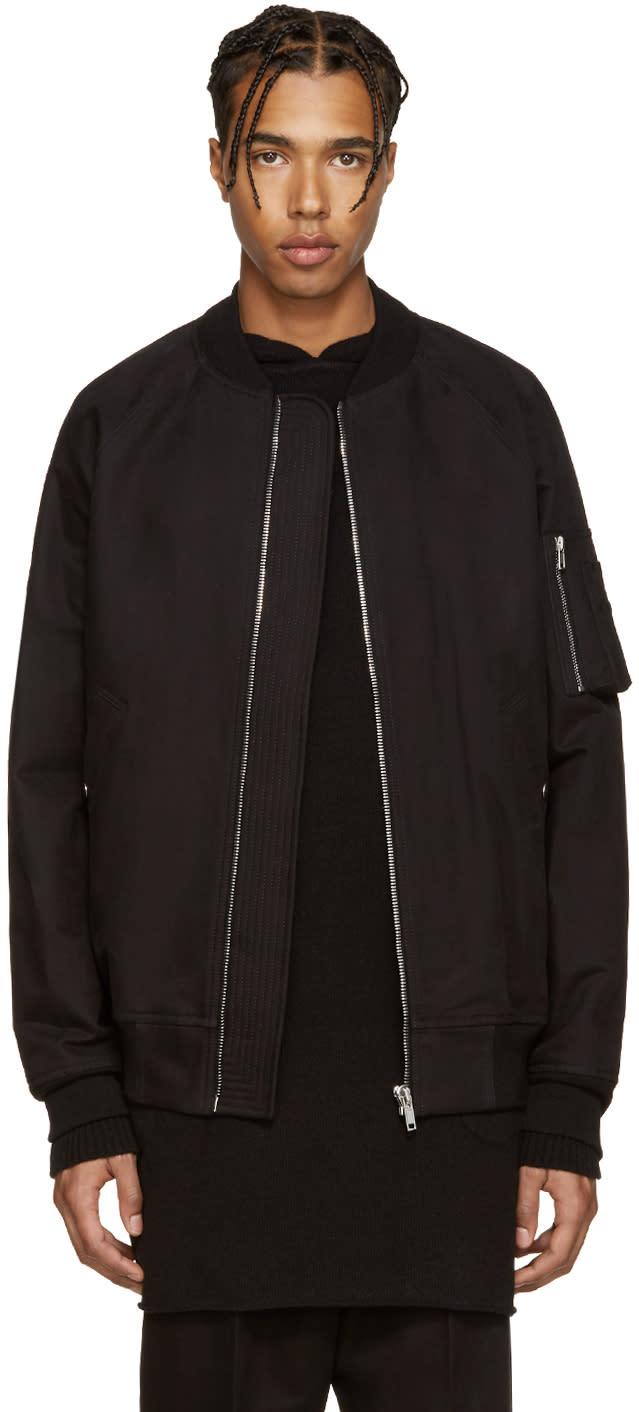 Rick Owens Black Cotton Bomber Jacket