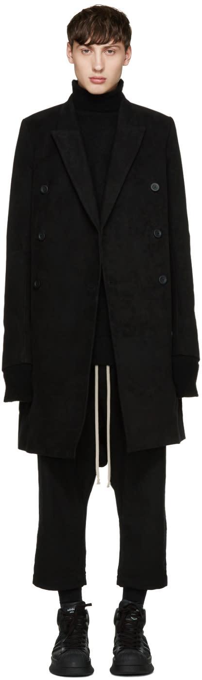 Rick Owens Black Moleskin Jmf Coat