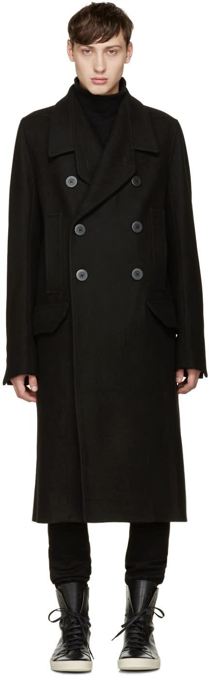 Rick Owens Black Officers Coat