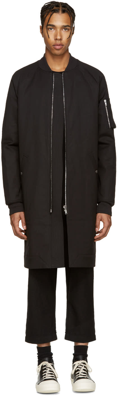 Rick Owens Black Bomber Coat