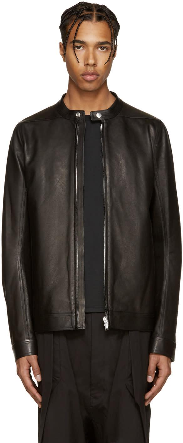 Rick Owens Black Leather Windbreaker Jacket