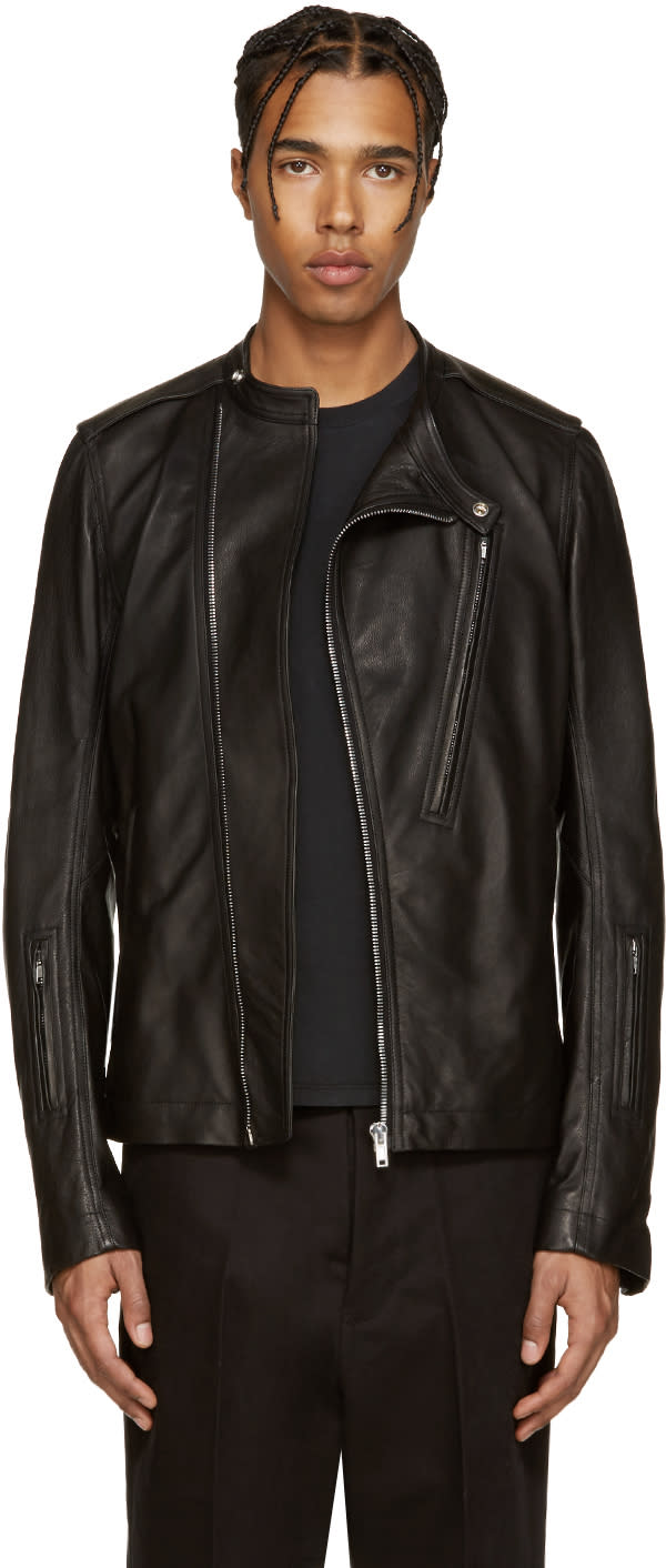 Rick Owens Black Leather Cyclop Jacket