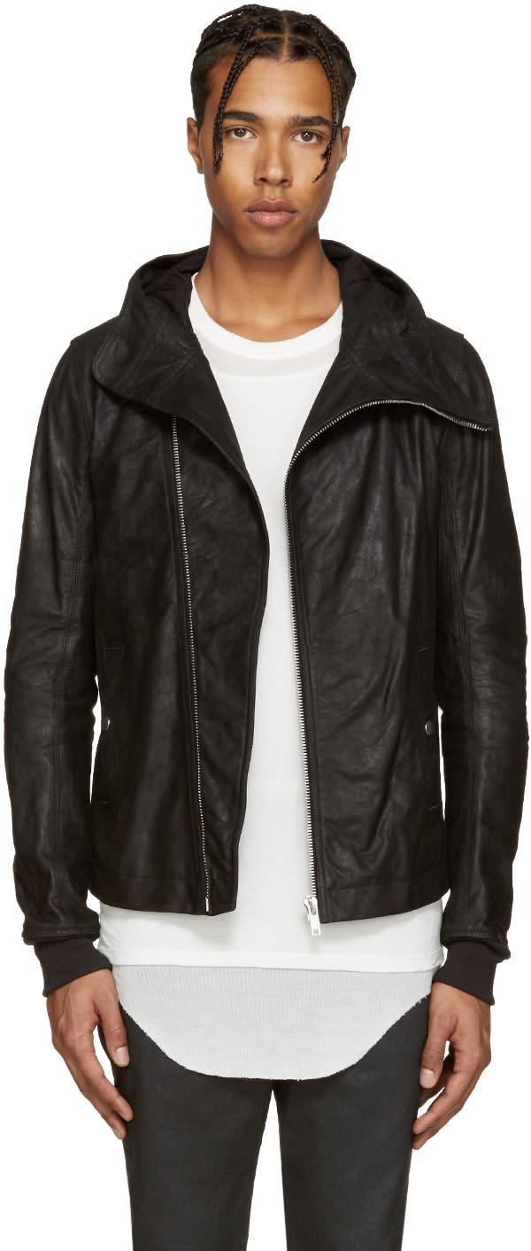 Rick Owens Black Leather Bullet Jacket