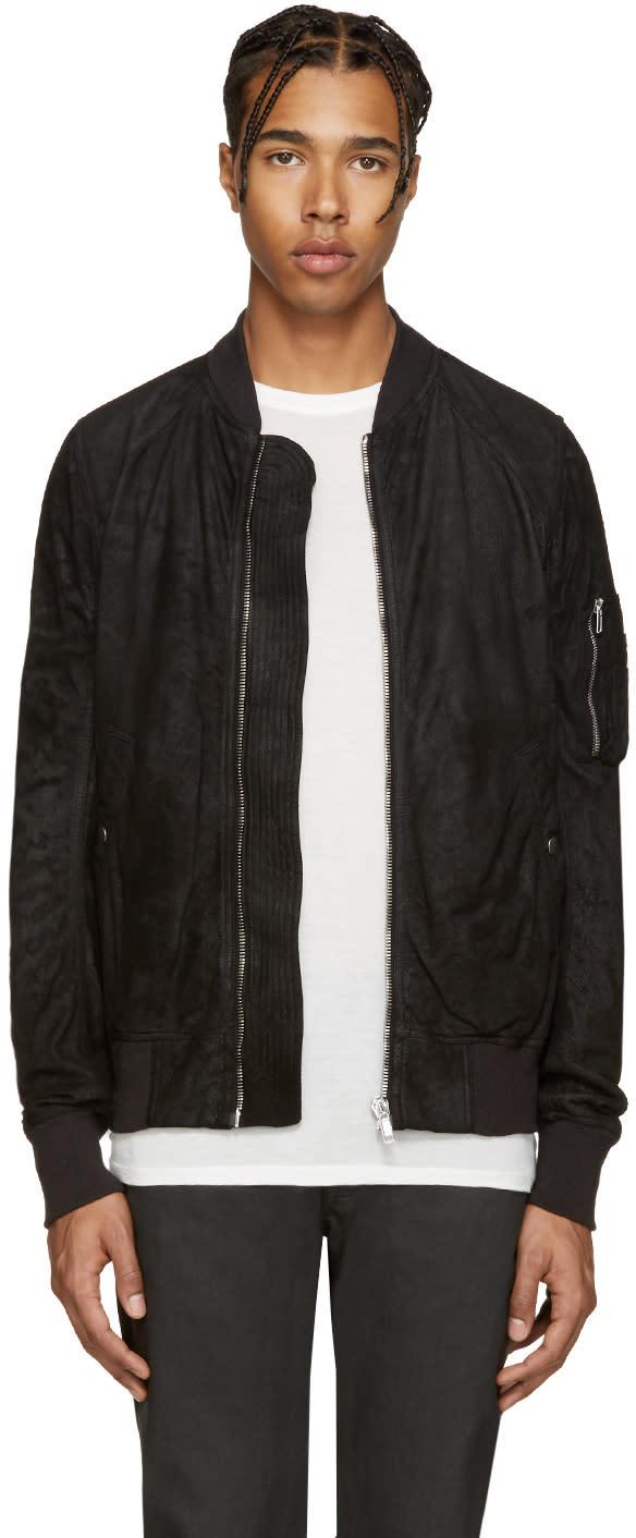 Rick Owens Black Nubuck Bomber Jacket