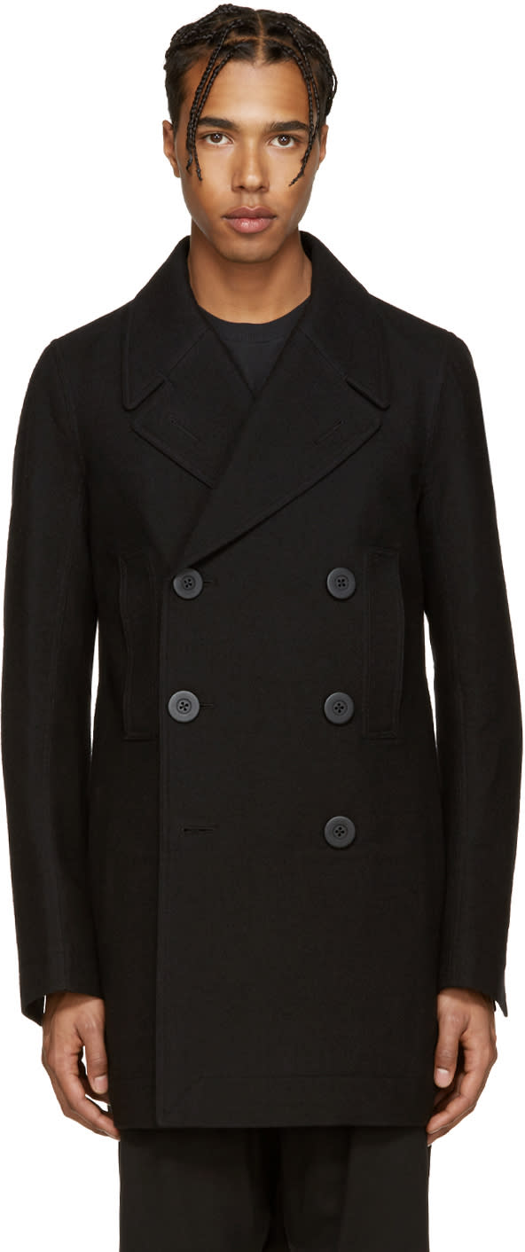 Rick Owens Black Church Peacoat