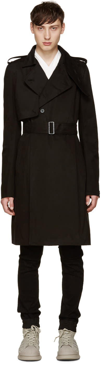Rick Owens Black Trench Coat