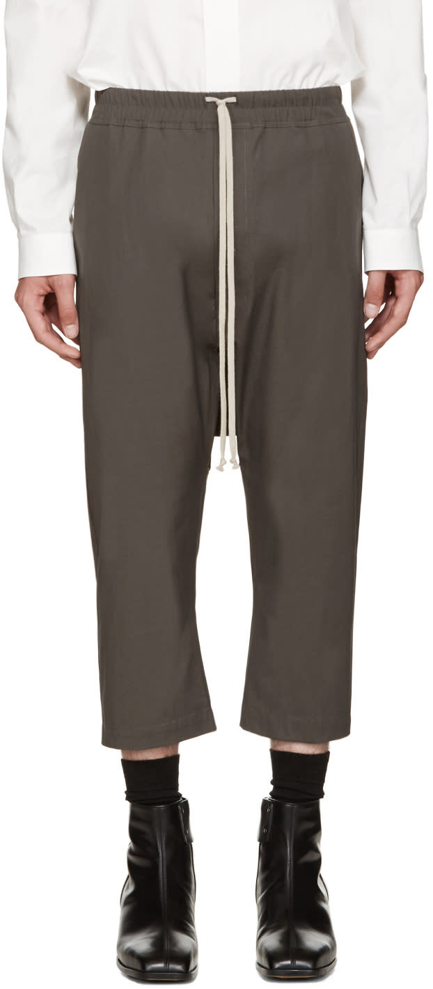 Rick Owens Grey Cropped Trousers