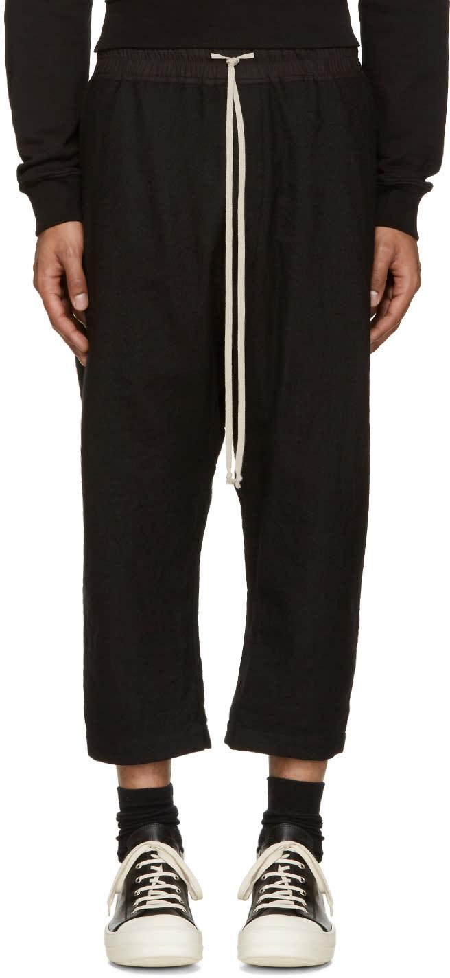 Rick Owens Black Wool Cropped Lounge Pants