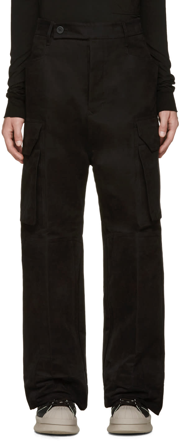 Rick Owens Black Wide-leg Cargo Trousers