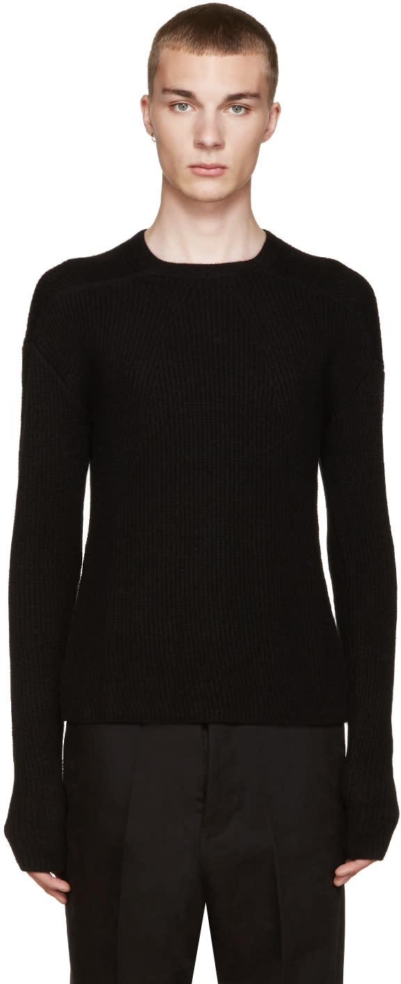 Rick Owens Black Cashmere Biker Sweater