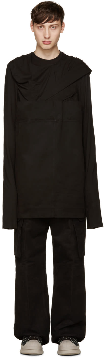 Rick Owens Black Panelled Pullover